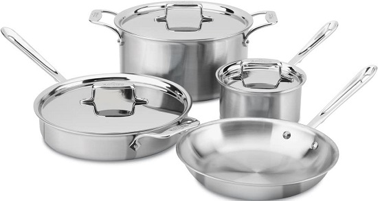 All-Clad D5 Brushed Stainless Steel Cookware Set with 5-Ply Technology